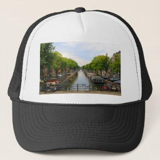 Canal, bridges, bikes, boats, Amsterdam, Holland Trucker Hat