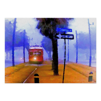 Canal-Cemeteries, Streetcar on Foggy Morning, Poster