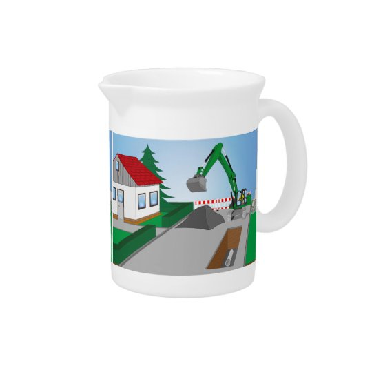 Canal construction place beverage pitcher