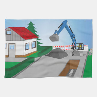 Canal construction place kitchen towels