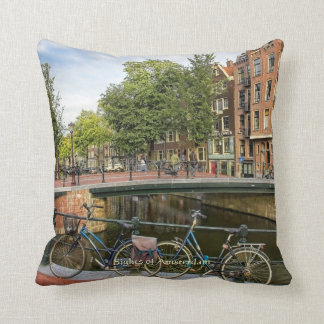 Canal Crossing and Bikes, Sights of Amsterdam Throw Pillow