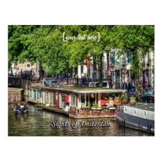 Canal Houseboat, Sights of Amsterdam Postcard
