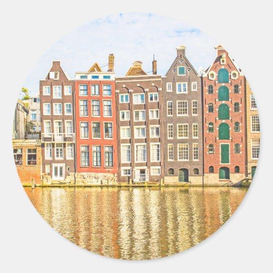 Canal in Amsterdam Classic Round Sticker