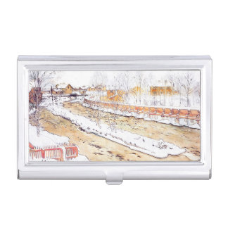 Canal in Snow Timber Chute Business Card Holder