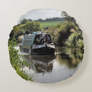 CANAL NARROWBOATS ROUND PILLOW