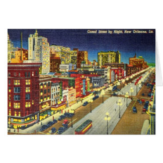 Canal Street at Night, New Orleans, Louisiana Card