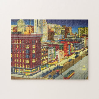 Canal Street at Night, New Orleans, Louisiana Jigsaw Puzzle