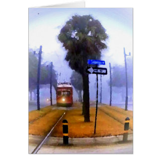 Canal Streetcar Foggy Morning Card