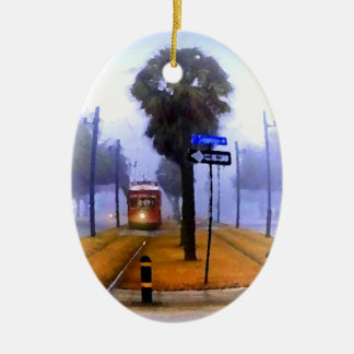 Canal Streetcar Foggy Morning Happy Holidays Ceramic Ornament