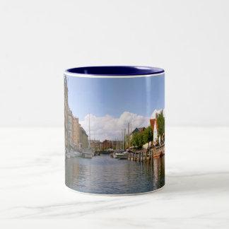 Canal tour, Copenhagen Two-Tone Coffee Mug