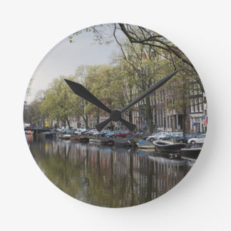 Canals in Amsterdam, Holland Round Clock