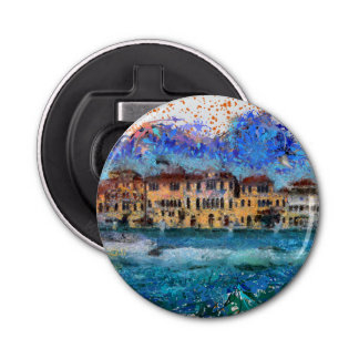 Canals in Venice Button Bottle Opener