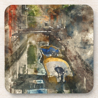 Canals of Venice - Digital Watercolor Drink Coasters