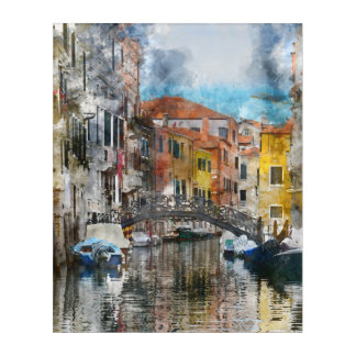 Canals of Venice Italy Watercolor Acrylic Wall Art