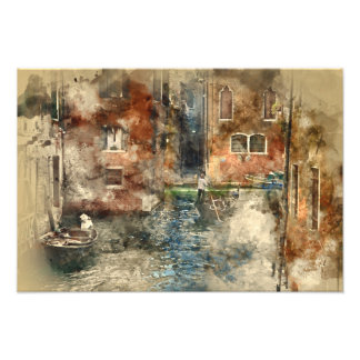 Canals of Venice Italy Watercolor Art Photo