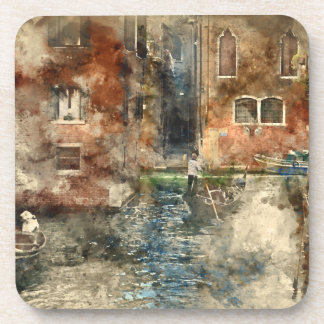 Canals of Venice Italy Watercolor Coasters