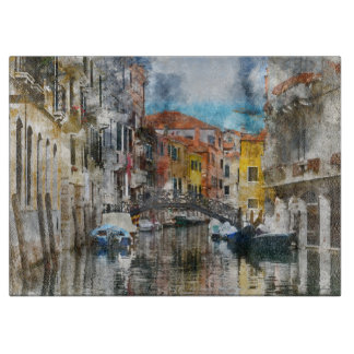 Canals of Venice Italy Watercolor Cutting Board