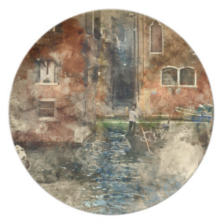 Canals of Venice Italy Watercolor Dinner Plates