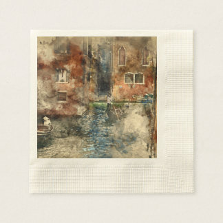 Canals of Venice Italy Watercolor Disposable Napkins