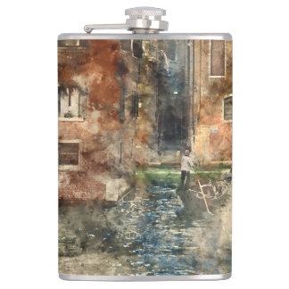 Canals of Venice Italy Watercolor Flask
