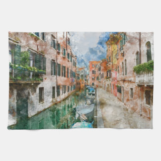Canals of Venice Italy Watercolor Hand Towels
