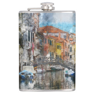Canals of Venice Italy Watercolor Hip Flask