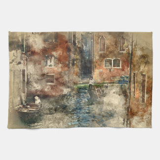 Canals of Venice Italy Watercolor Kitchen Towel