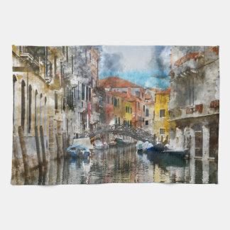 Canals of Venice Italy Watercolor Kitchen Towels