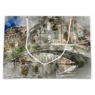 Canals of Venice Italy Watercolor Large Gift Bag