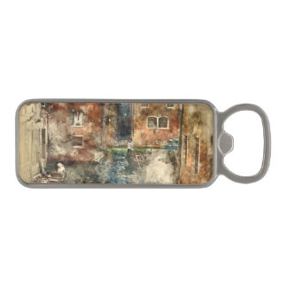 Canals of Venice Italy Watercolor Magnetic Bottle Opener