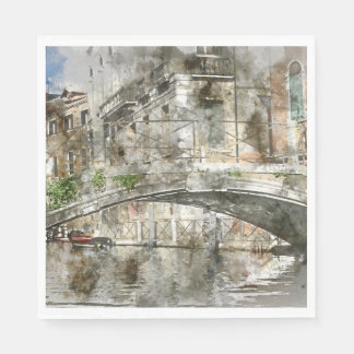 Canals of Venice Italy Watercolor Paper Napkin