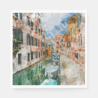 Canals of Venice Italy Watercolor Paper Napkins