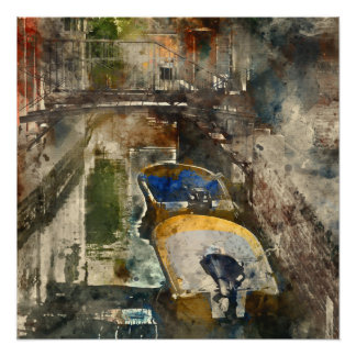 Canals of Venice Italy Watercolor Perfect Poster