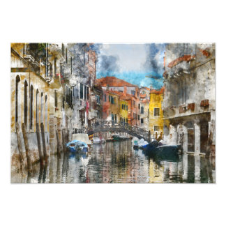 Canals of Venice Italy Watercolor Photo Print