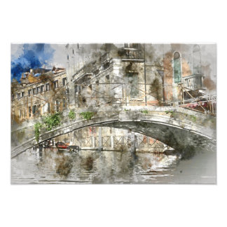 Canals of Venice Italy Watercolor Photograph