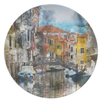 Canals of Venice Italy Watercolor Plates