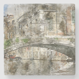Canals of Venice Italy Watercolor Stone Beverage Coaster