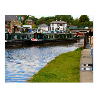 Canalside Inn, Narrow boats,Aquaduct, Llangollen, Postcard