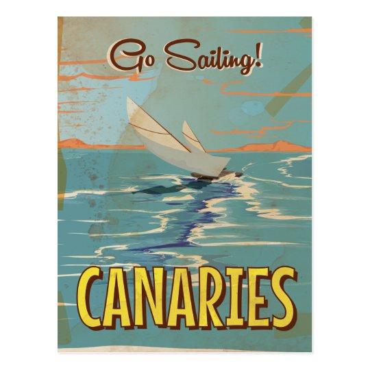 Canaries vintage travel poster postcard