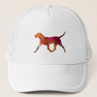 Canary bulldog in watercolor trucker hat