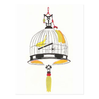 Canary in Asian Birdcage Postcard