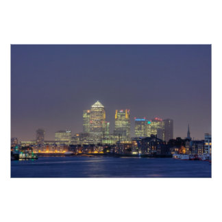 Canary Wharf at night Poster