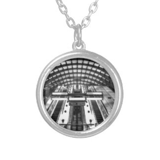 canary wharf tube station silver plated necklace