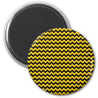Canary Yellow And Black Zigzag Chevron Pattern 2 Inch Round Magnet