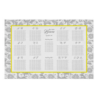 Canary Yellow and Gray Seating Chart Alphabetical