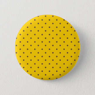 Canary Yellow And Unique Brown Polka Dots Pattern 2 Inch Round Button