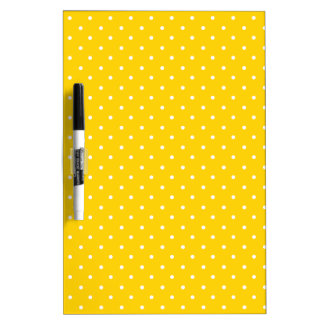 Canary Yellow And White Small Polka Dots Pattern Dry Erase Board