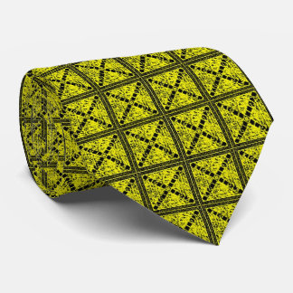 Canary Yellow Bullseye Square & X Pattern Tie