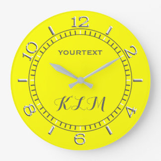 Canary Yellow Decor Dial Easily Personalized Large Clock