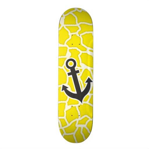 Canary Yellow Giraffe Animal Print; Anchor Custom Skateboard